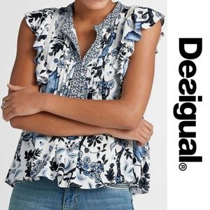 Desigual Blue Gaye Blouse White Birds Medium